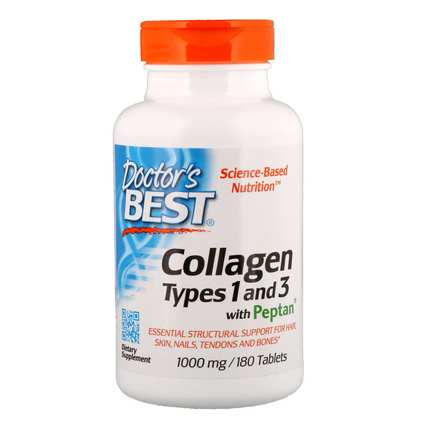 Collagen Types 1 & 3 with Peptan - 1000mg - 180 tablets