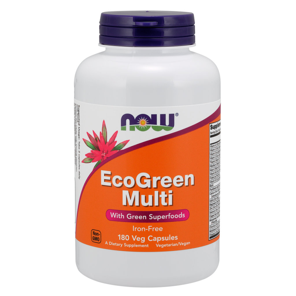 EcoGreen Multi, Iron Free - 180 vcaps NOWFOODS